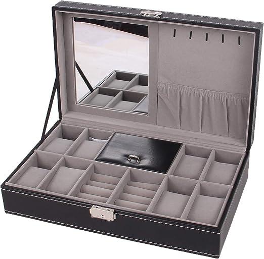 Gu3Je Joyero Caja de Reloj de joyería joyero Caja Vanidad para Guardar Joyas (Color : Black, Size : 33.3x20x9cm): Amazon.es: Hogar