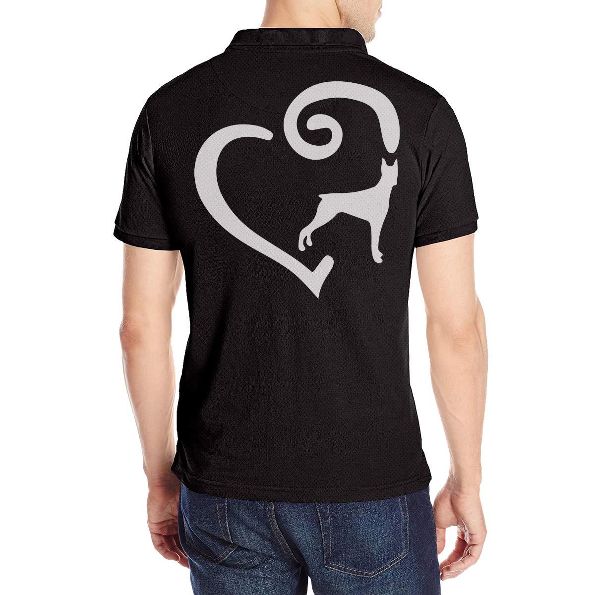 POJing-Q74 Doberman Heart-1 Mens Basic Designed Short-Sleeve Polo Shirt
