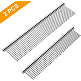 Cafhelp 2 Pack Dog Combs with Rounded Ends Stainless Steel Teeth, Cat Comb for Removing Tangles and Knots, Professional Grooming Tool for Long and Short Haired Dog, Cat and Other Pets, 6.3IN/7.4IN