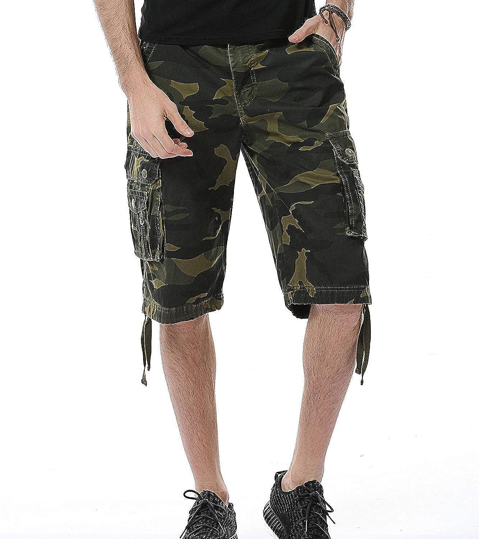 HSRKB Camouflage Cargo Short Long Shorts for Men Without Belt