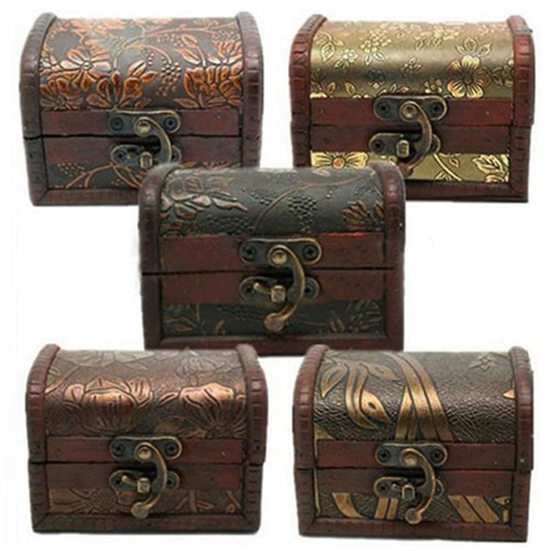 Greidea Vintage Jewelry Treasure Organizer Chest Case Gift Box Metal Lock Wooden Storage Box
