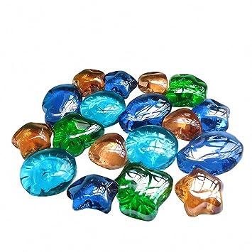 Acuario Piedra Decoración omem verde hojas de cristal piedras de cristal, Acuario Peces Tanque Grava decoración, grava Pebble, Acuario Decor: Amazon.es: ...