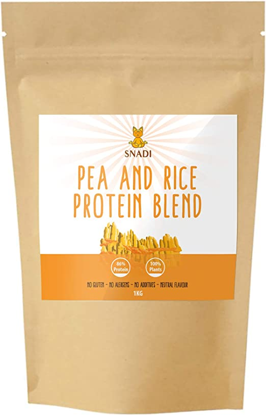 Proteina isolada de Guisante y Arroz - 1 kg. Proteína vegana Sin Gluten. Suplemento alimenticio 100% natural. Proteina vegetal en polvo.