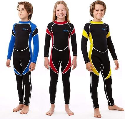 HISEA 1//2mm Thin Kids Girls Boys Junior Full Length Wetsuit Beach Swim Wet Suit