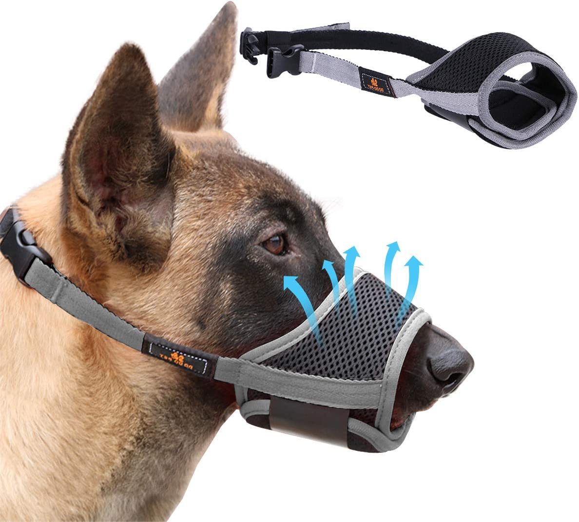Homkeen - Bozal para perro con bucle ajustable y malla transpirable