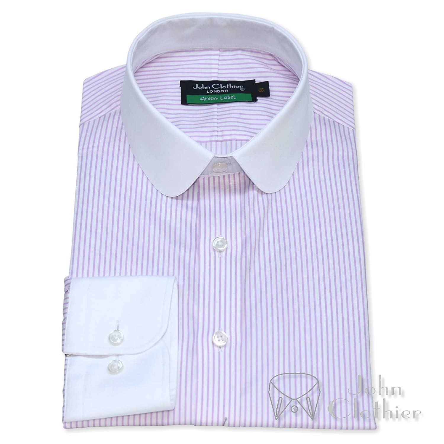 discount price performance sportswear color brilliancy Mens Penny Collar Bankers Shirt Lilac Stripes 100% Cotton ...