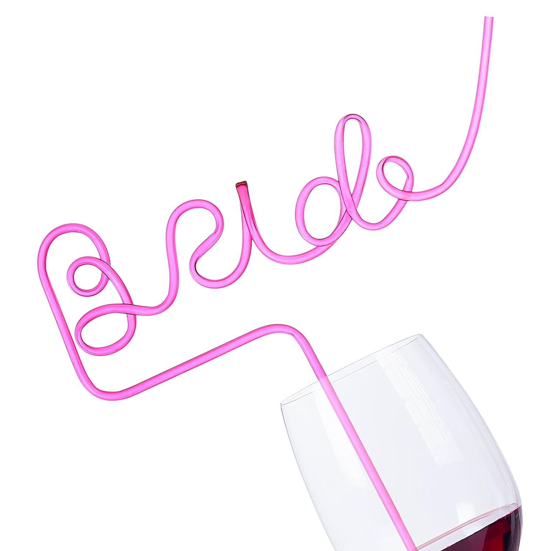 Amazon.com: Felitsa Bride Straw for Bachelorette Party - Big Pink ...
