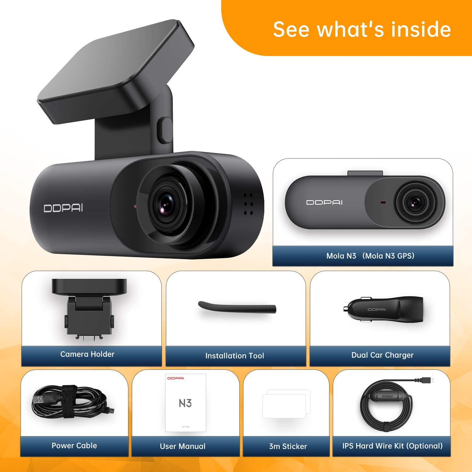 1600P Front Dash Cam DDPAI Mola N3 Dash Cam 2K Dash Cam Recorder Single Front Dashboard Camera for Car| Infrared Night Vision |24hr Motion Sensor Parking Mode App /& Wi-Fi| Support 128GB max
