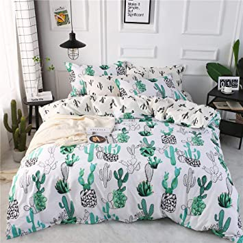 Teenage Bedding Sets Full.Highbuy Full Queen Kids Cactus Duvet Cover Queen Greeb Girls Bedding Sets Full Cotton Comforter Cover With Zipper Ties Reversible 3 Pieces Teens Full