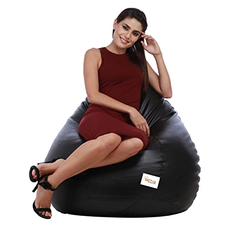 Sattva Classic Bean Bag filled with beans - XXL Size - Black Colour