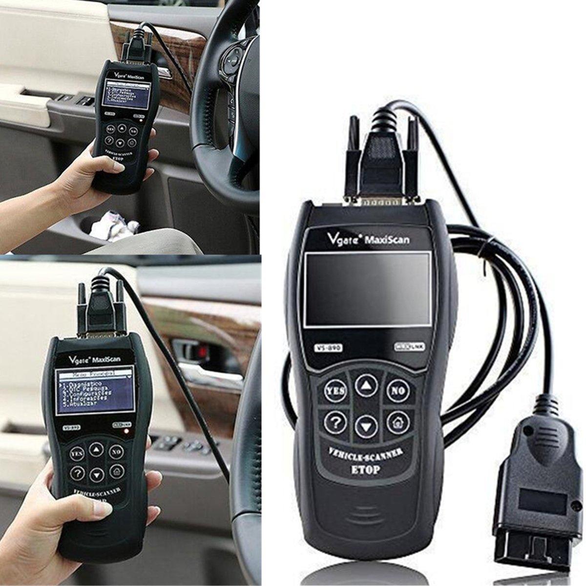Gugutogo universale automobile auto Fault code Reader scanner strumento diagnostico OBD2 II –  VS890 reset veicolo scansione Tools (colore: Nero)