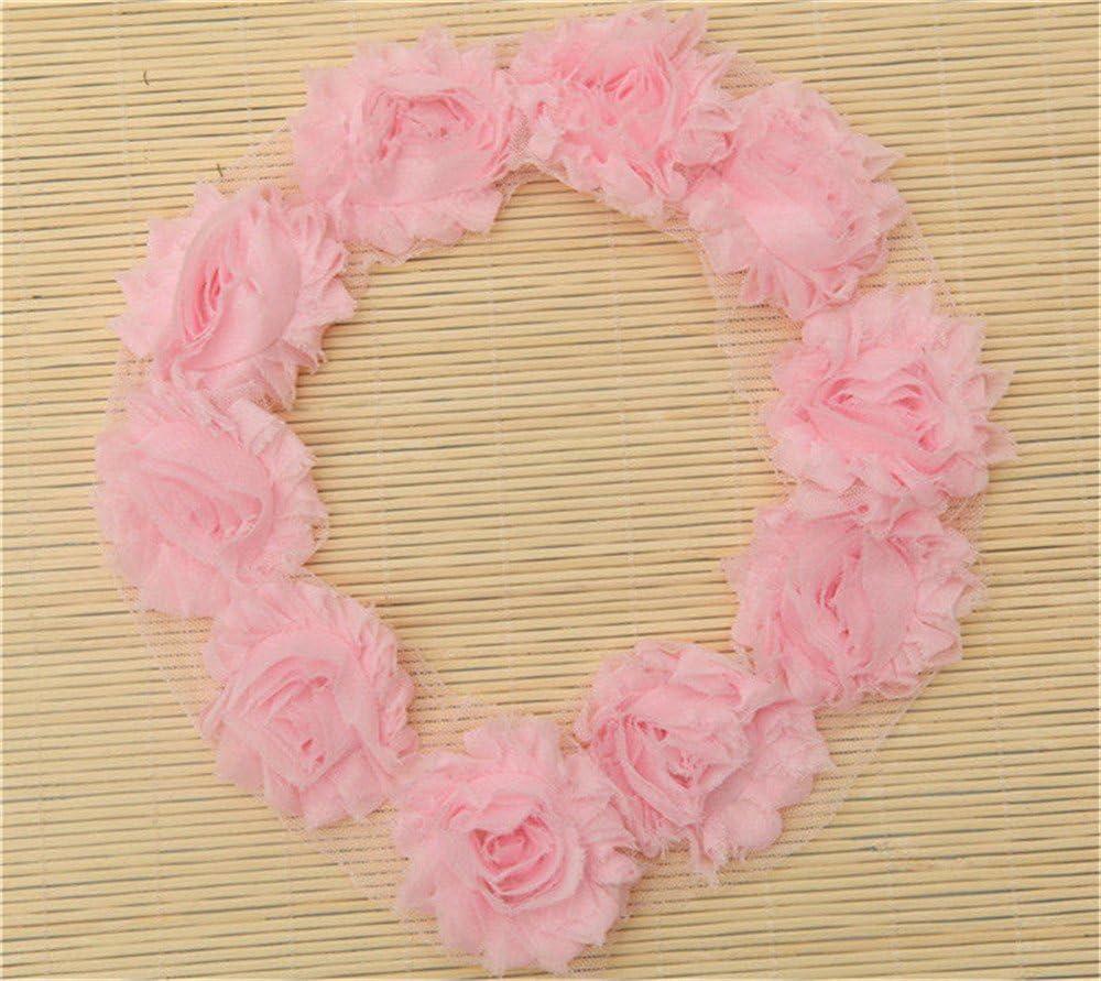 Rose Pink CHIFFON ROSETTE Frayed Mesh LACE TRIM Edging Craft 1y 15 Large Flowers