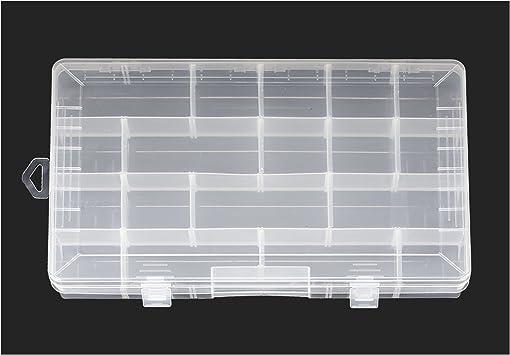 24 compartimento transparente caja de almacenaje – compartimento ajustable tamaños: Amazon.es: Bricolaje y herramientas