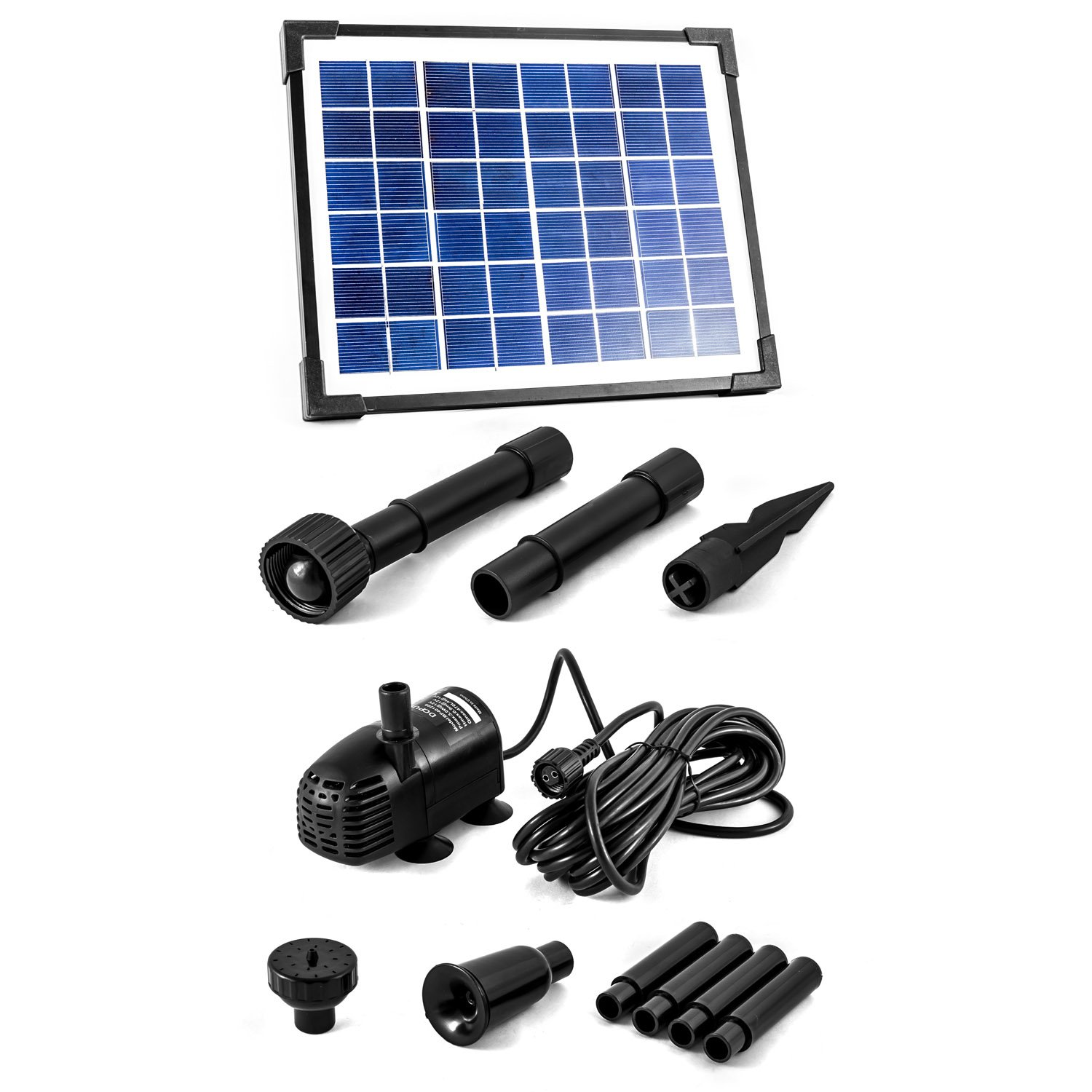CLGarden SP-S2 Solar Powered Pump for Water Fountain 5W sun-powered Panel Kit Container plug&play rizers sprinklers pump + panel pond feature