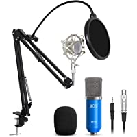 TONOR Condenser PC Microphone XLR to 3.5mm with Boom Scissor Arm Stand with Shock Mount for Podcasting Studio Recording Blue