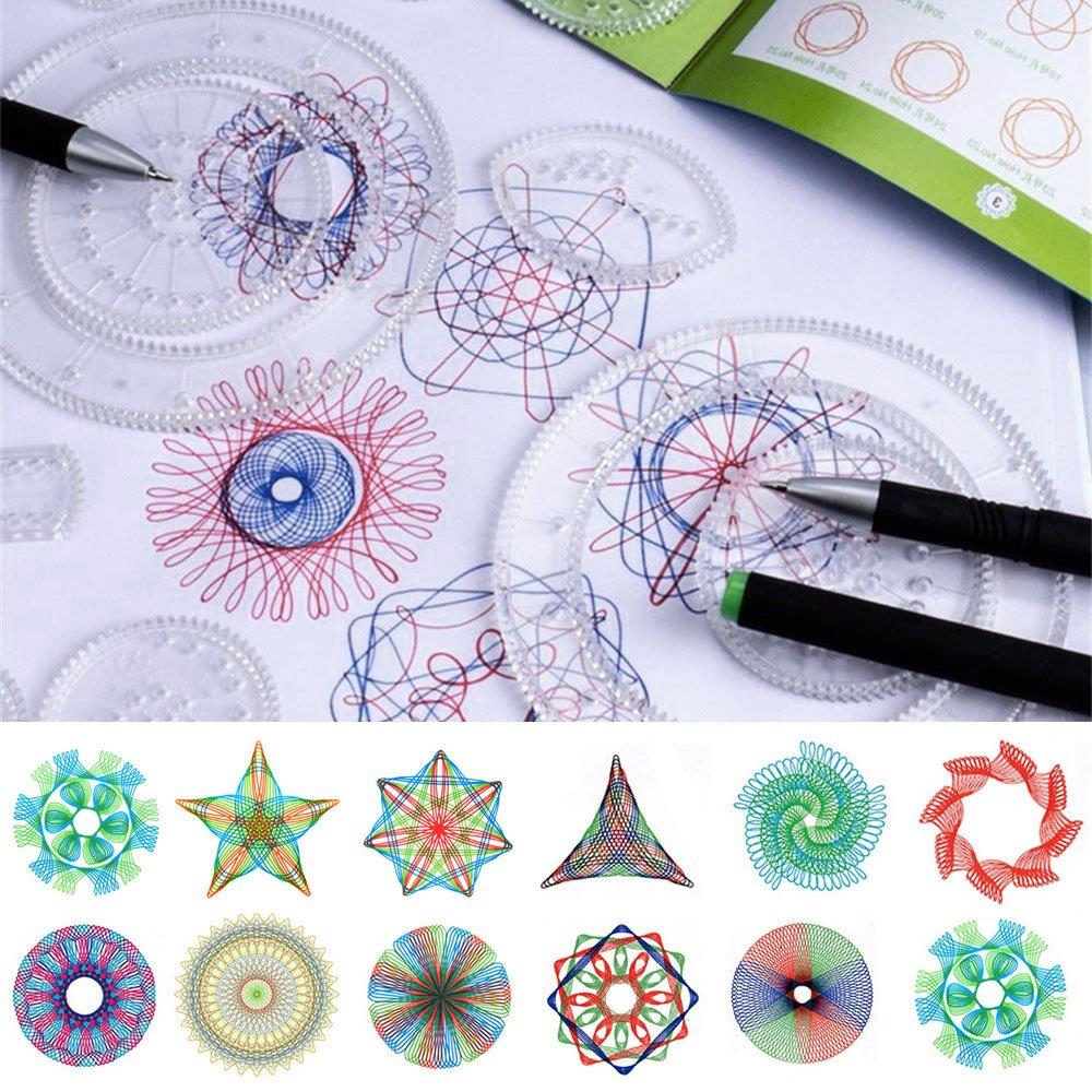 Oceanheart Juego de Espirógrafo Regla geométrica para diseño de Espiral Tipo espirógrafo