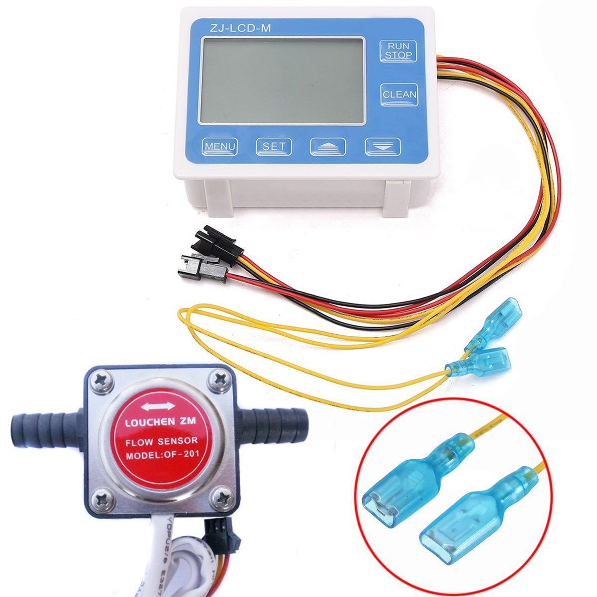Digital Fuel Oil Flow Meter Flowmeter LCD Display + 13mm Gasoline Gear Flow Sensor DC 12-24V