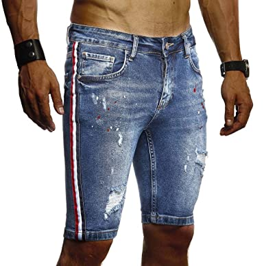 LEIF NELSON Herren Jeans Shorts Sommer Jogger Kurze Hose Jeanshose Chinos Cargo Bermuda Stretch Slim Fit LN9295