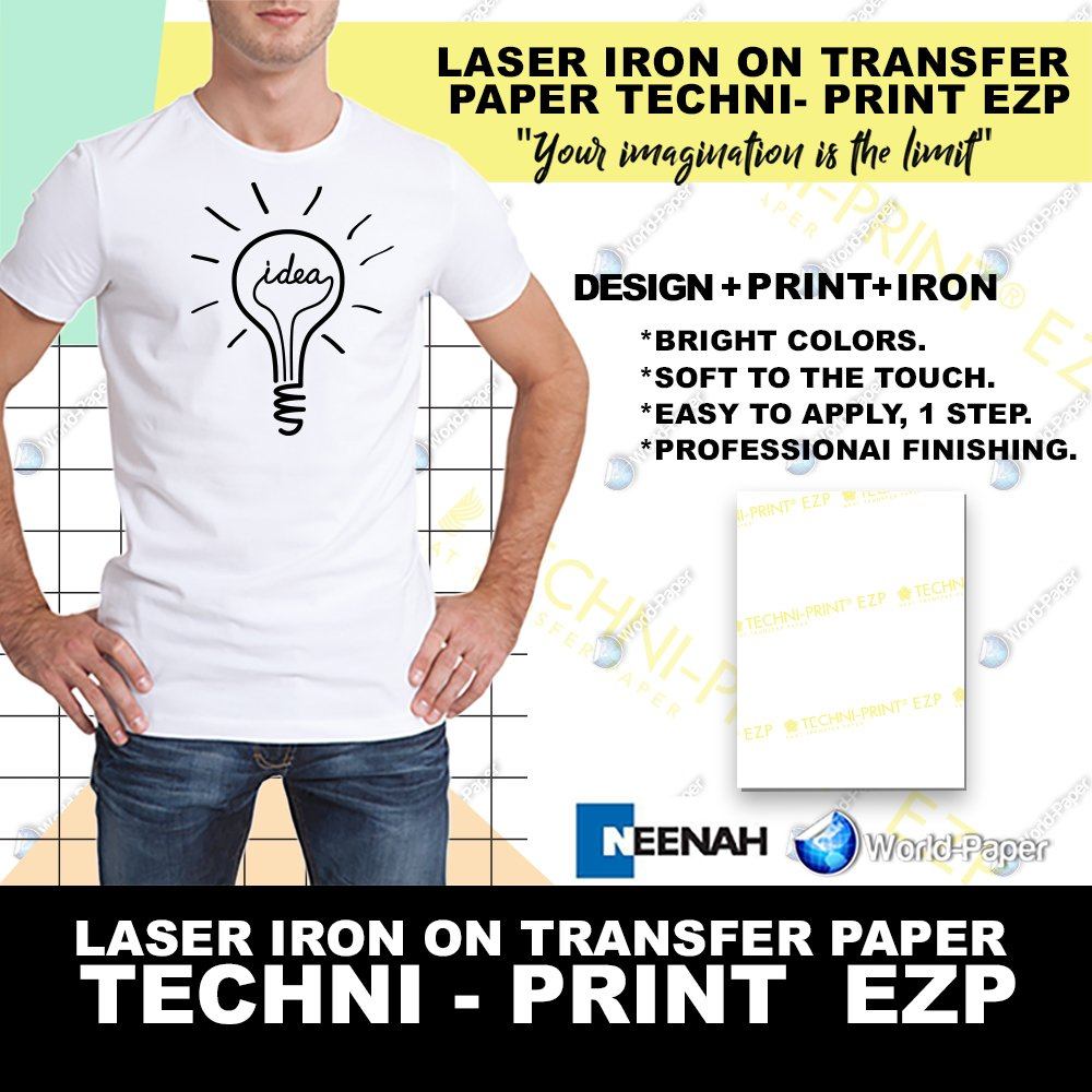 "Laser Heat Transfer Paper, for Light fabric - Techni Print EZP- 10 Sheets - 8.5"" x 11"" World-Paper"