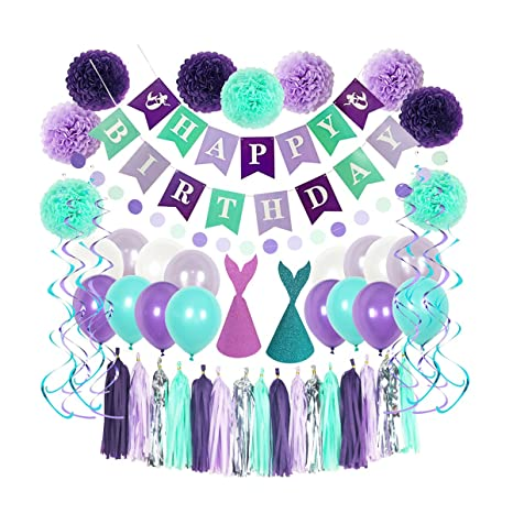 Litaus Mermaid Birthday Decorations Happy Banner Party Balloons Tassels Hanging