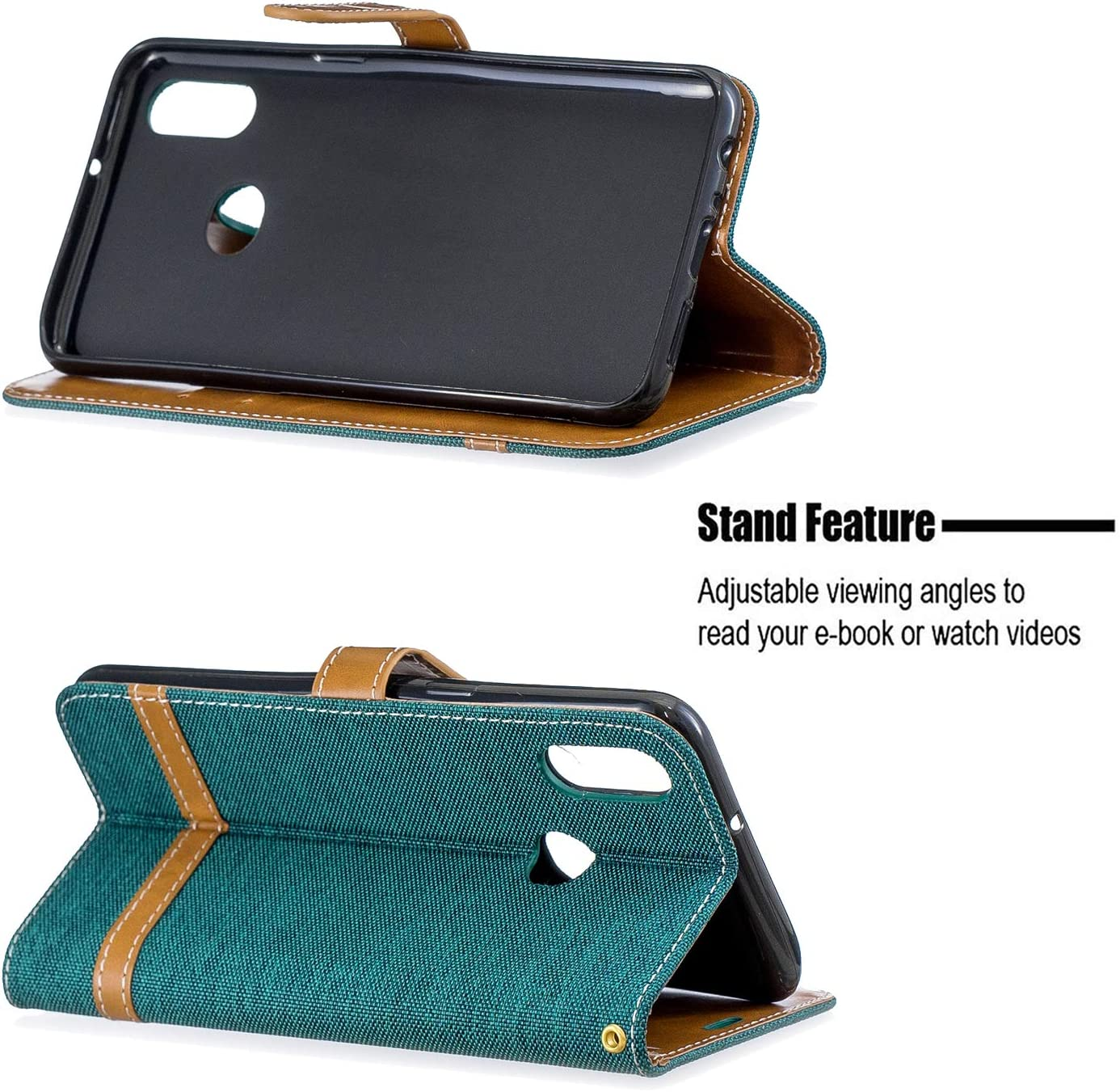 NEXCURIO Wallet Case for Galaxy A10S with Card Holder Side Pocket Kickstand Shockproof Leather Flip Cover Case for Samsung Galaxy A10S NEBFE020306 Green