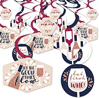 product image for But First, Wine - Wine Tasting Party Hanging Decor - Party Decoration Swirls - Set of 40
