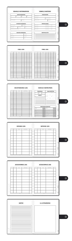 guwq vehicle maintenance log mileage log gas log record book