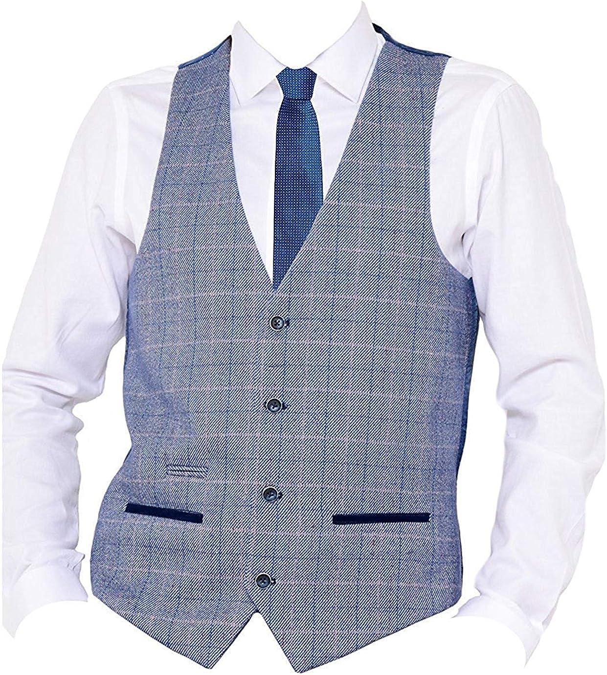 Marc Darcy Mens Vintage Checked Tweed V-Neck Waistcoat Hilton Blue