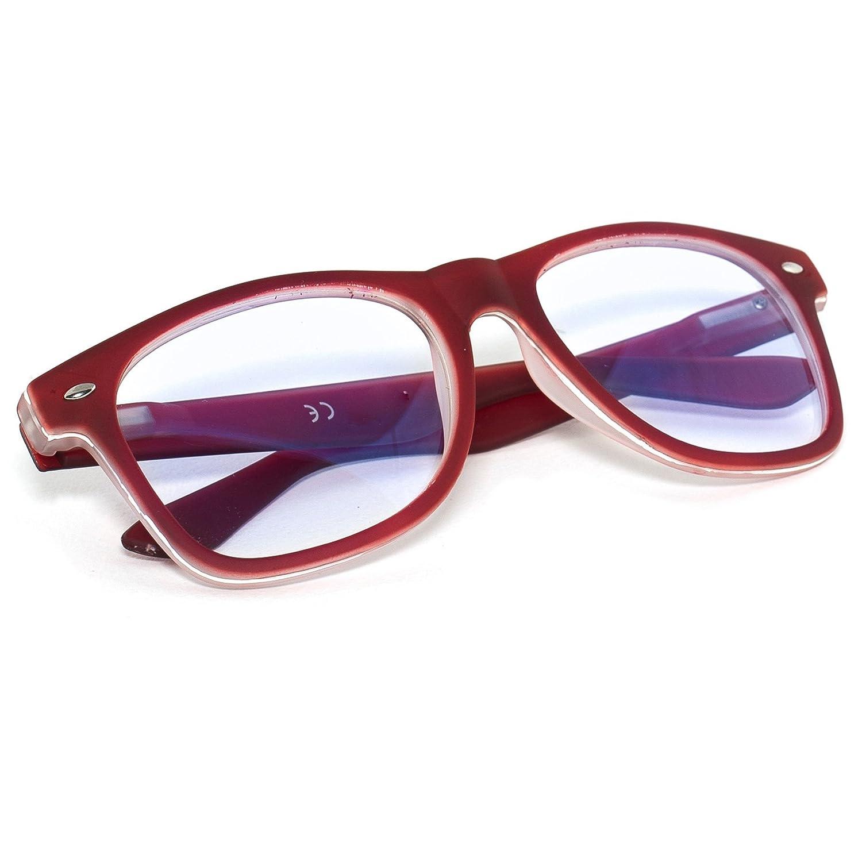 Lentille Claire Lunettes Anti Glare Reading Computer, Gaming, TV, Glasses UV Anti Radia Reflex pour Retro Vintage lunettes Hommes Femmes MFAZ Morefaz Ltd (Black Rubi)