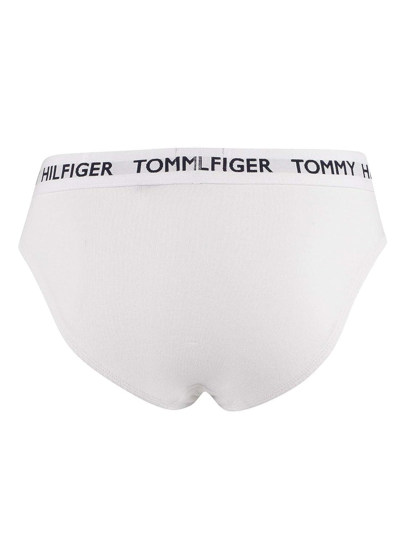 Blanco Tommy Hilfiger Bandera Logotipo Parche Hombres Breve