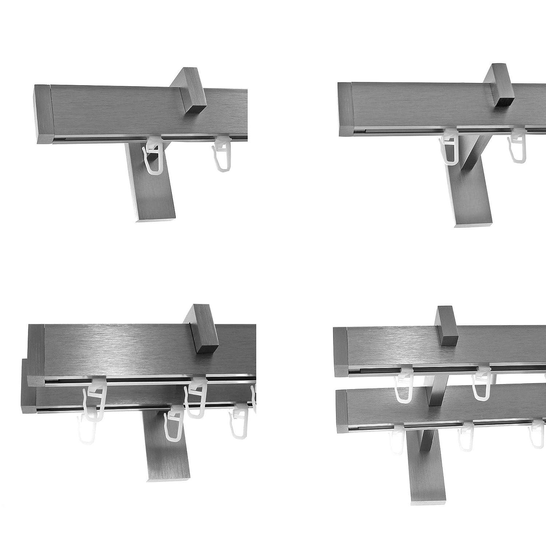 BASIT Innenlauf Gardinenstangen eckig Edelstahl Look kantiges Design 1-, 2- läufig E90, Länge Gardinenstange 400 cm, Modell H90 1-Lauf Träger kurz
