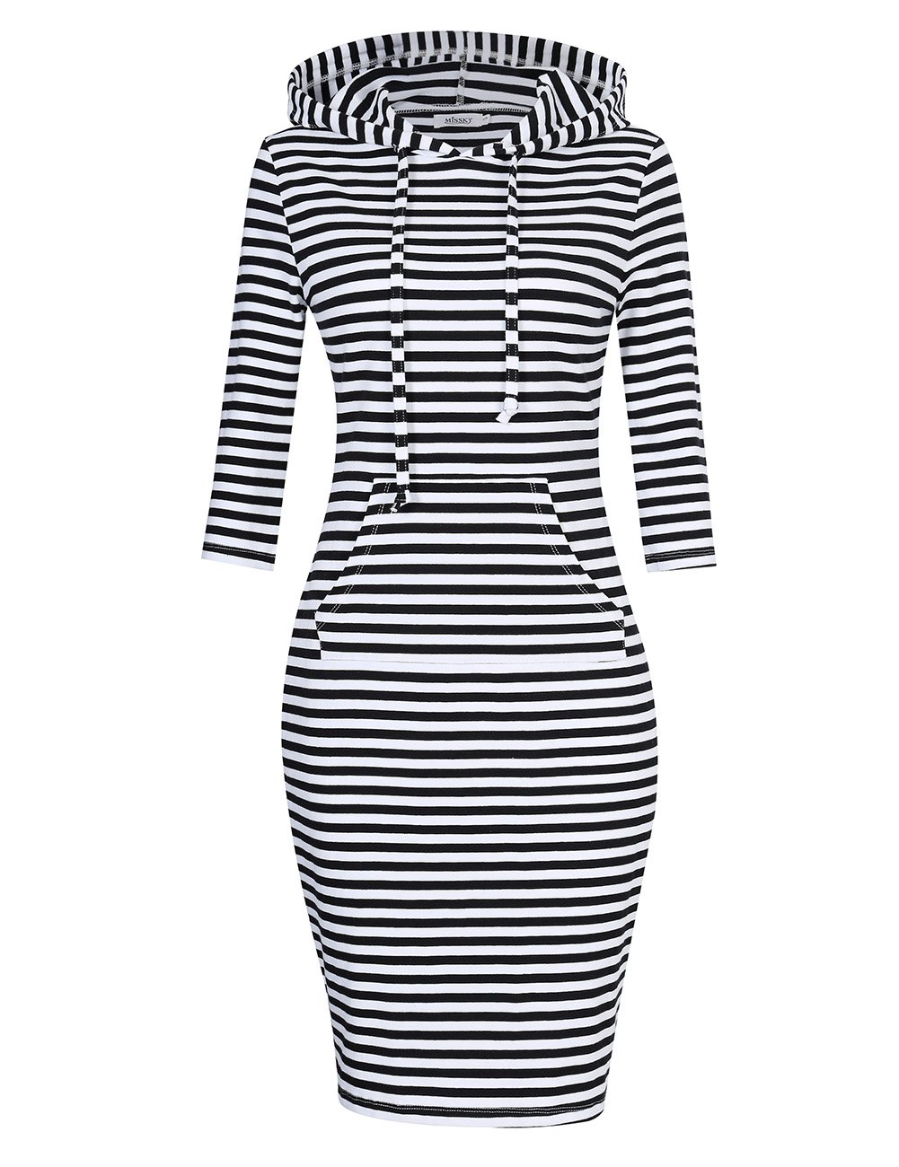 MISSKY Women Pullover Hoodie Dress Stripe Pocket 3/4 Long Sleeve Cotton Slim Keen Length Sweatshirt Dress Black-White L