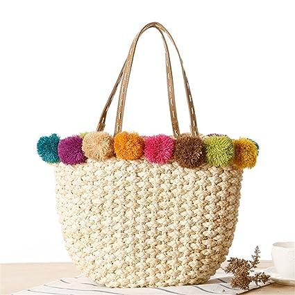 Amazon.com: Raffia Beach Bag Handmade Pom Ball Handbags ...