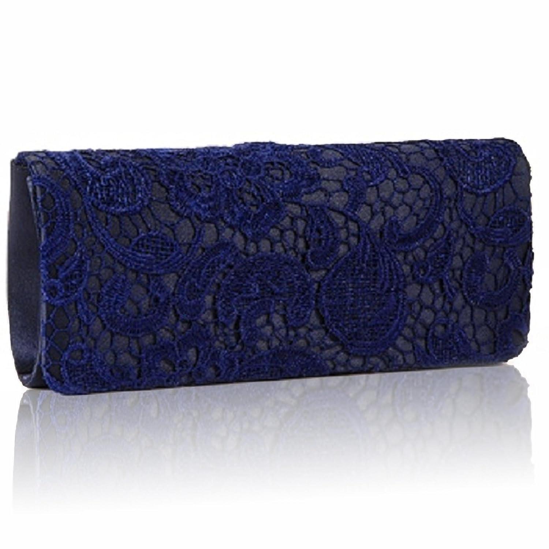 Zarla Étui pochette de soirée pour femme en Satin avec dentelle florale Femme soirée/mariage-Neuf - Beige - Champagne f1rxqRI,