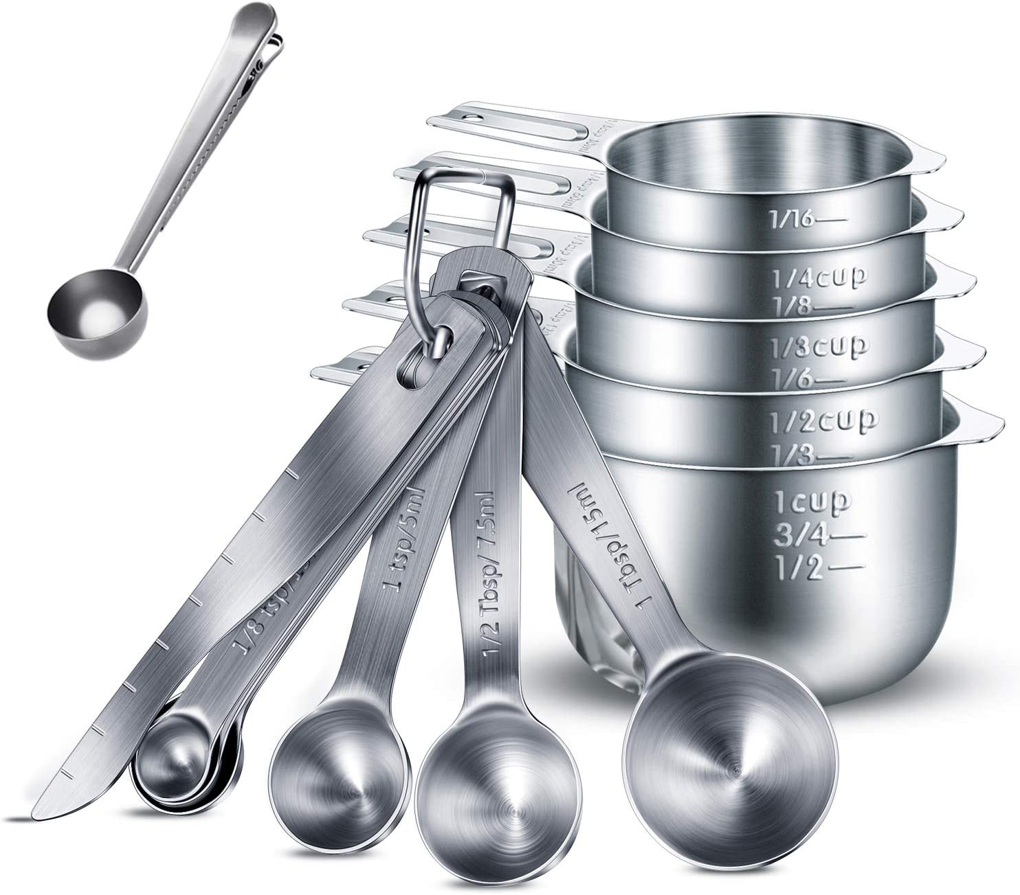 Stackable Stainless Steel 13 Piece Measuring Cups and Spoons Set US /& Metric