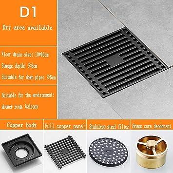 Axwt Black Square Floor Drain Waste Drain Cover Bathroom Shower Room Wc Floor Drain Laundry Garden Outdoor Color D1 Amazon Com