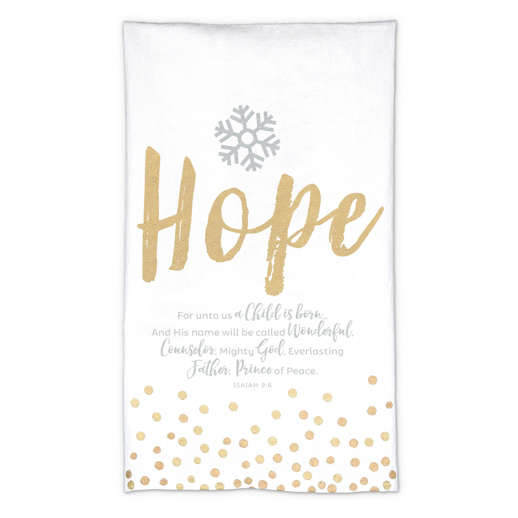 Lighthouse Christian Products White and Gold Hope Christmas Towel-Cloth