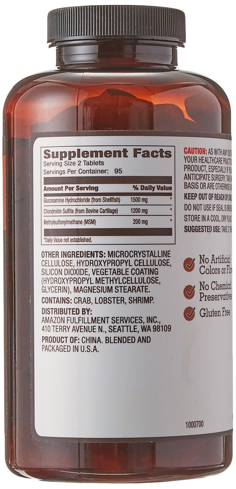 Amazon Brand - Amazon Elements Glucosamine Complex, Glucosamine Chondroitin MSM, 190 Tablets, 3 Month Supply by Amazon Elements (Image #5)