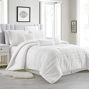 Elizabeth 6-Piece White Tassel Fringe Comforter Set, Twin