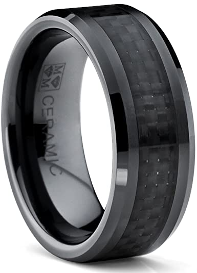 8MM Flat Top Mens Black Ceramic Ring Wedding Band With Black Carbon