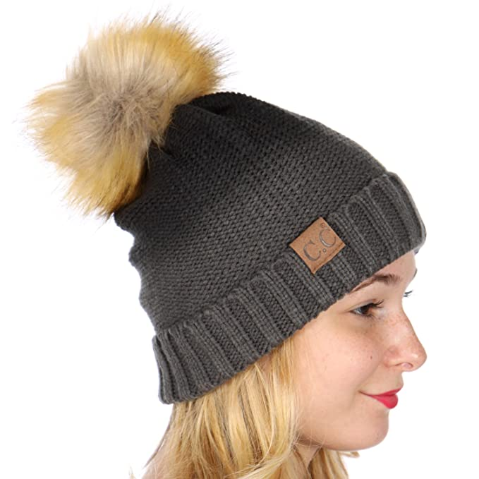 89ea1c62b36 SERENITA C.C Slouch Winter Warm Foldover Ombre Knit Beanie Hat   W Faux Fur Pompom  Black Grey at Amazon Women s Clothing store