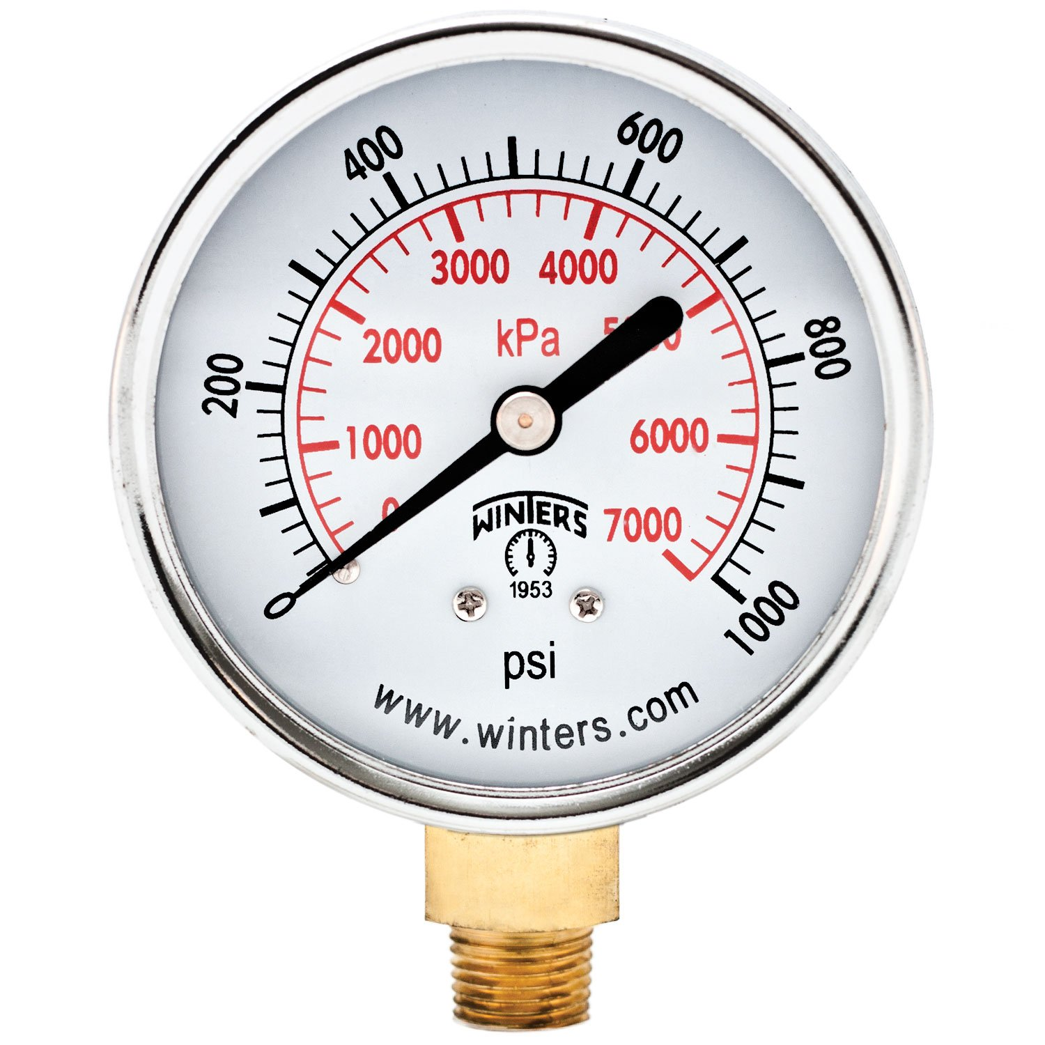 Winters PEM Series Steel Dual Scale Economical All Purpose Pressure Gauge with Brass Internals 0 1000 psi kpa 2 1 2 Dial Display 3 2 3% Accuracy 1 4 NPT Bottom Mount