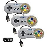 Exlene 3 Pack Retro USB SNES Super Nintendo Game Controller Gamepad Joystick für Windows PC / MAC