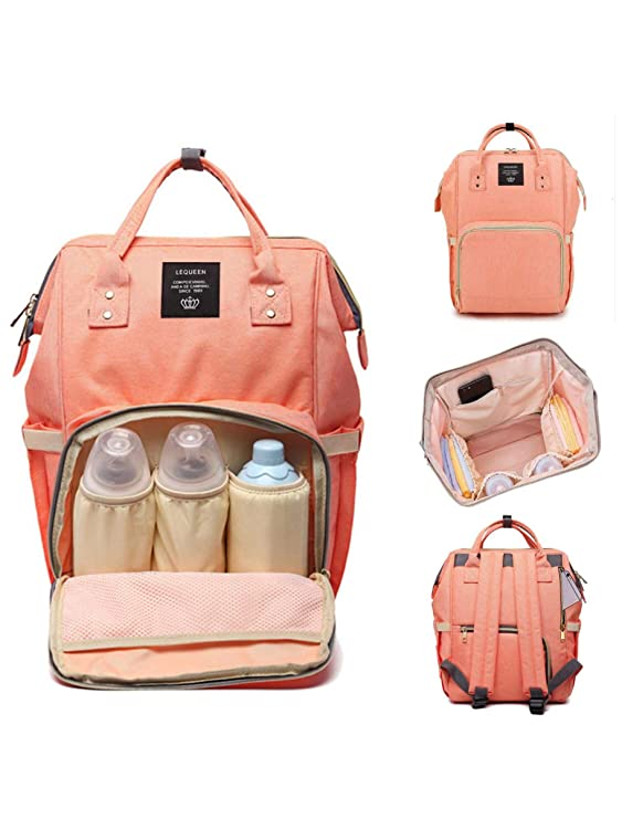 Robustrion Stylish Waterproof Multifunctional Diaper Bag for Mothers Travel Diaper Bags Backpack Large Size (20 x 18 x 40 cms) - Coral