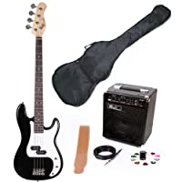 Lindo High Gloss Black ZPB Series Electric Bass Guitar & EBG15-FP Amplifier Pack