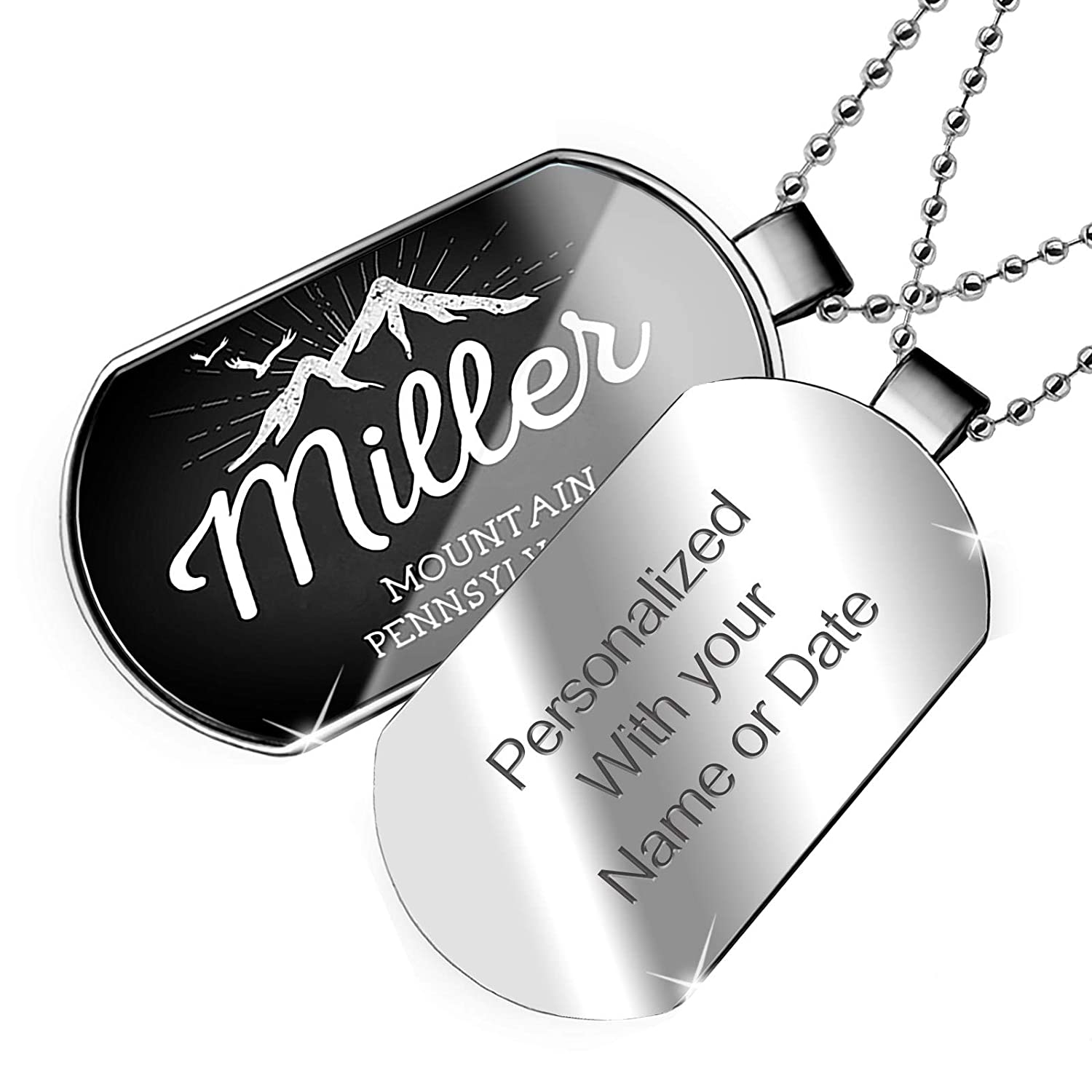 Pennsylvania Dogtag Necklace NEONBLOND Personalized Name Engraved Mountains Chalkboard Miller Mountain