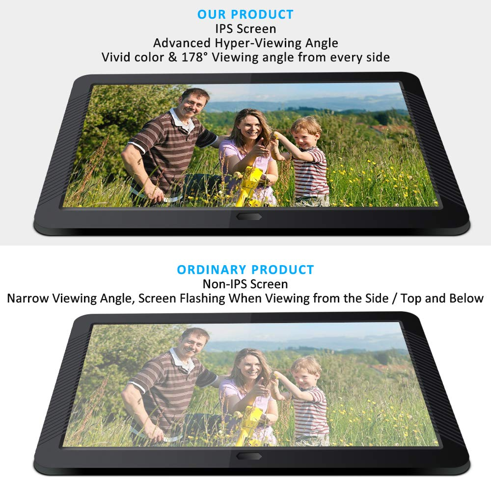 Digital Picture Frame 8 Inch Digital Photo Frame HD 1920X1080P with Remote Control 16:9 IPS Display Electronic Auto Slideshow Zoom Image Stereo Video Music Player Support USB SD Card 180° View Angle by Pofeite (Image #5)