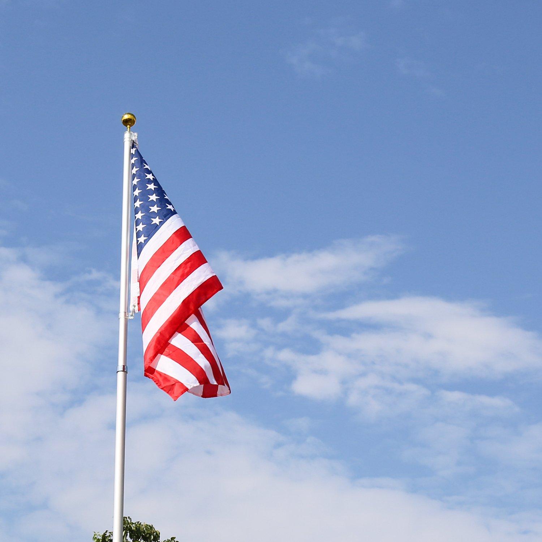 Kinbor Basic Portable Commercial Telescoping Flag Pole Outdoor Garden Construction Heavy Duty Aluminum Alloy with two USA flags, Silver (16 ft)