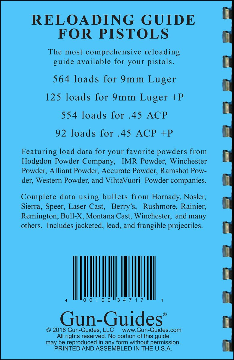 Reloading Guide for Pistols 9mm & +P and 45 Auto ACP & +P (NEW 2016