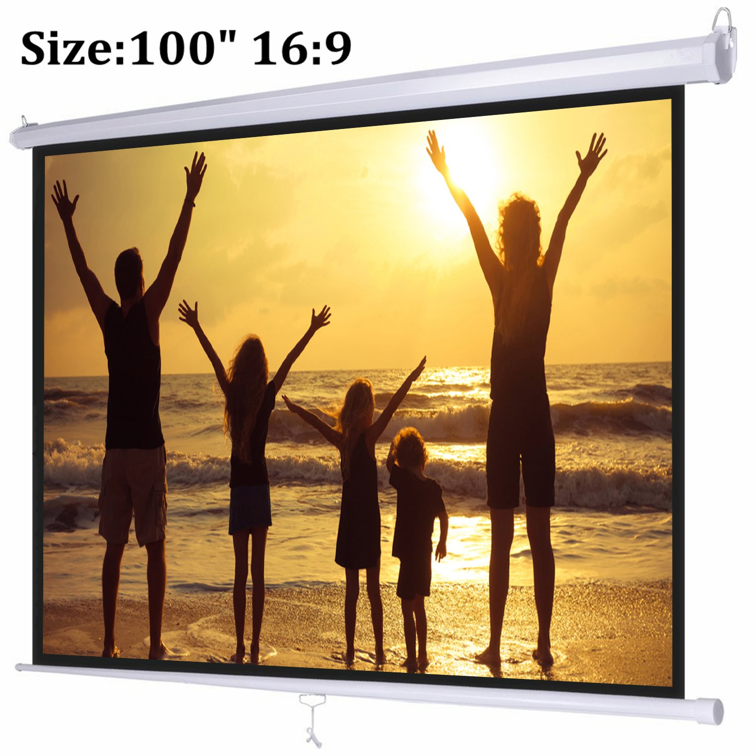 Projector Screen, Auledio Portable 100 Diagonal 16:9 HD Manual Pull Down Video Projection Screen with Auto Lock - Suitable for HDTV / Sports / Movies / Presentations